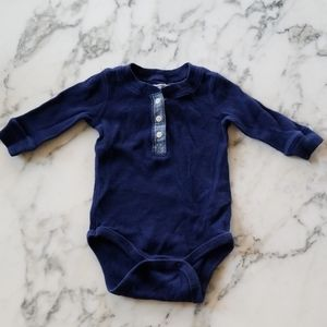 Navy Blue Long Sleeves Bodysuits, Size 3-6 Months